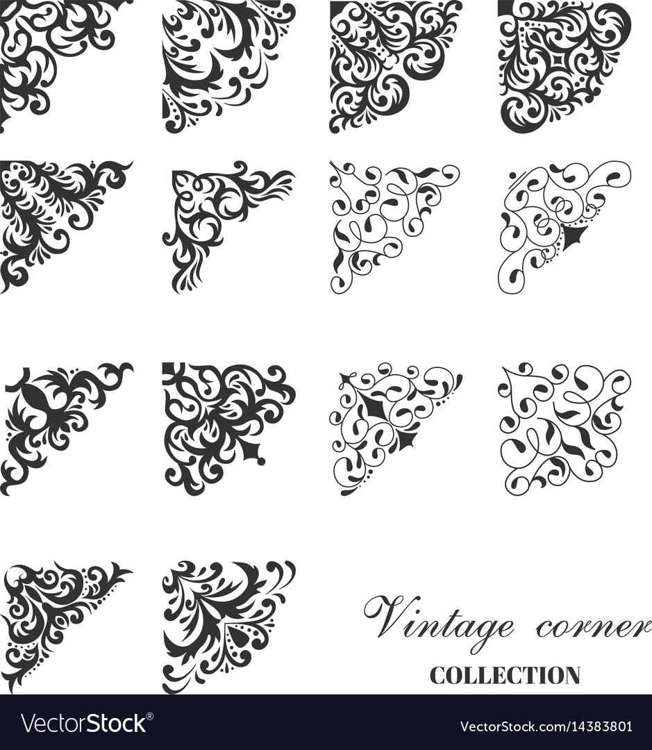 Corner vintage damask style collection vector image