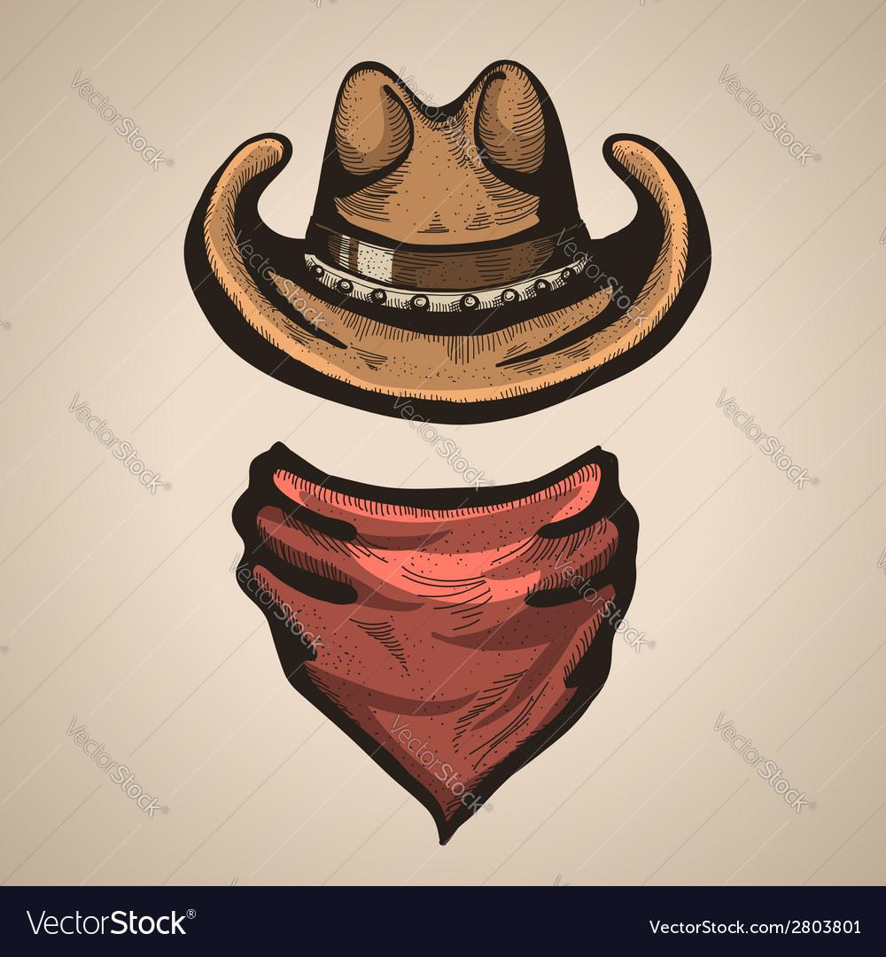 Cowboy hat and bandana scraf vector image