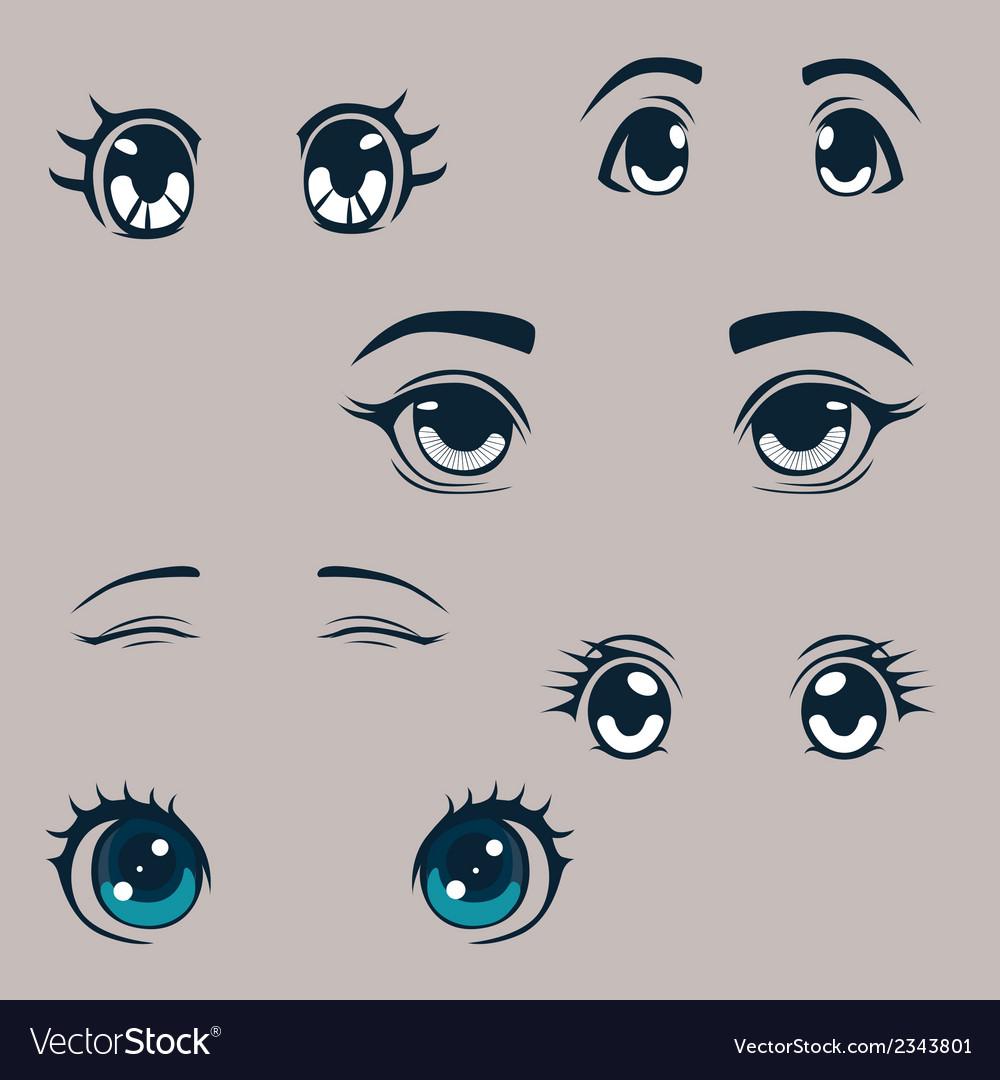 Manga eyes set vector image