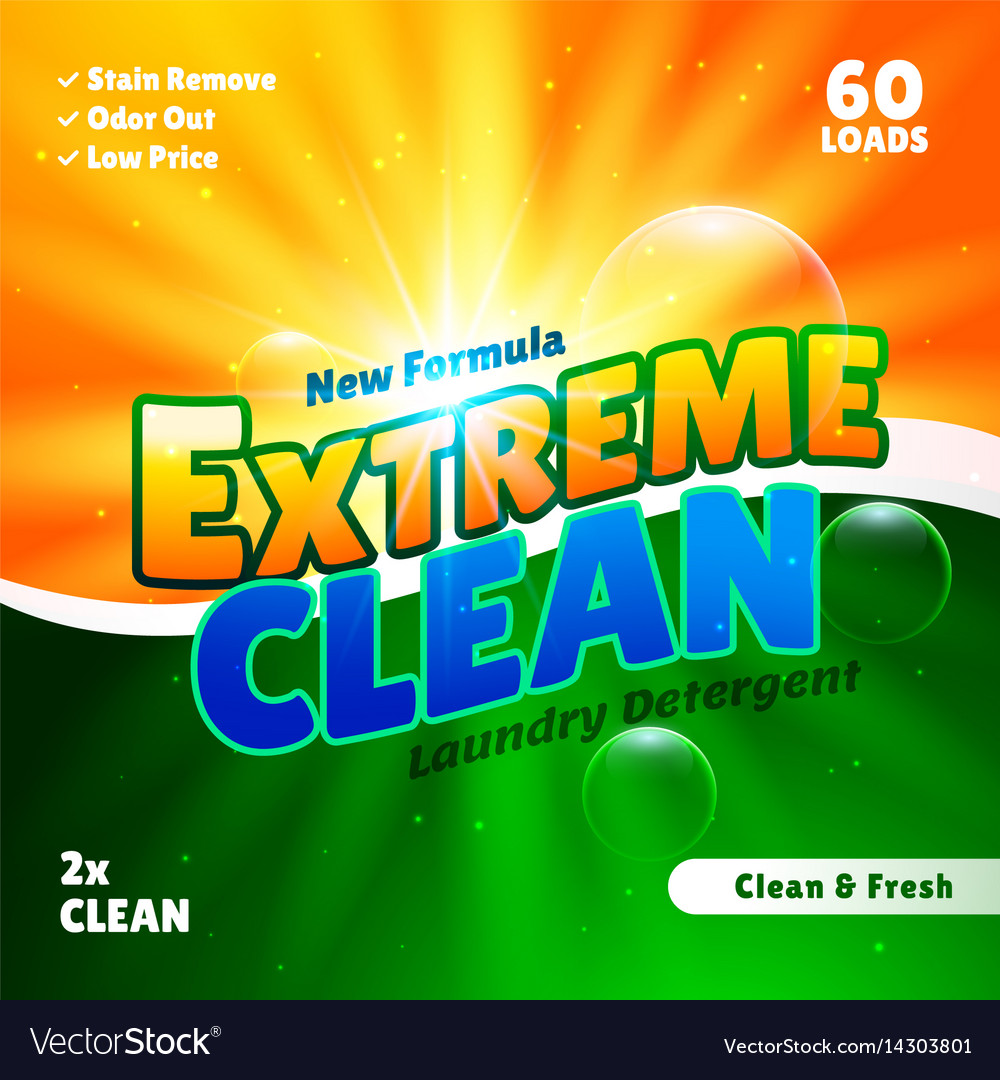 Packaging design template for laundry detergent vector image