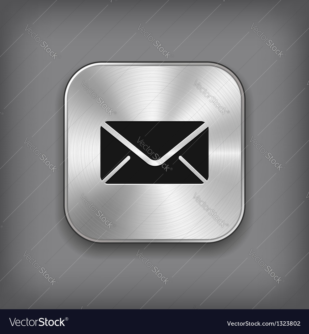Mail icon - metal app button vector image