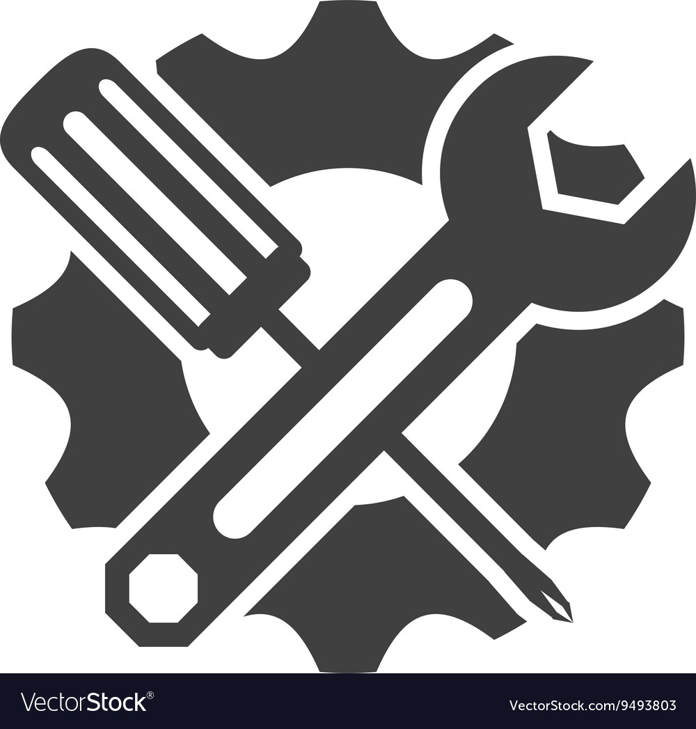 Wrench And Screwdriver Icon Tool Design Royalty Free Vector