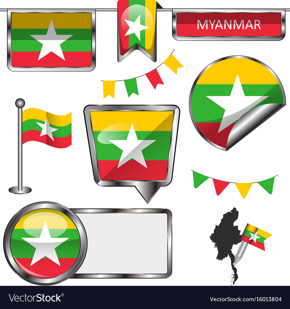 Glossy icons with flag of myanmar vector image