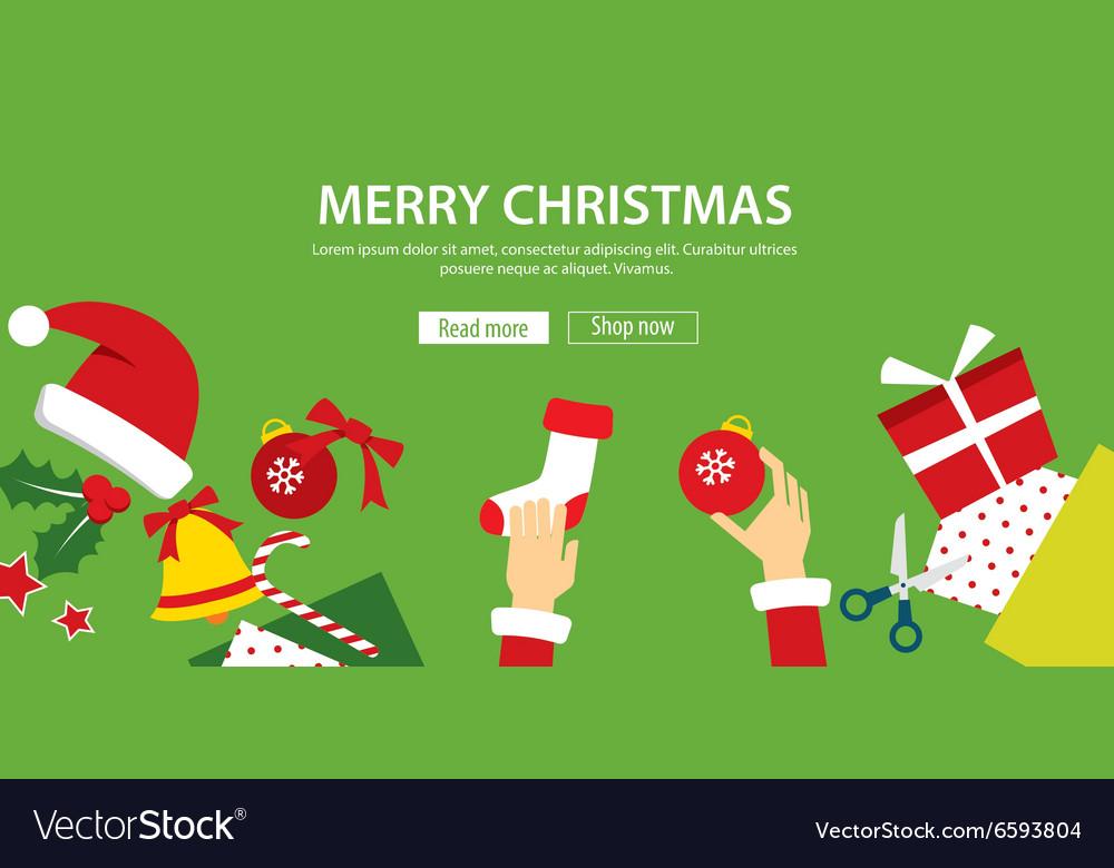 Merry christmas banner flat design vector image