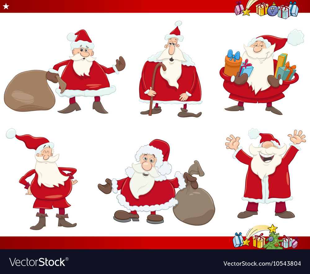 Santa on christmas set vector image