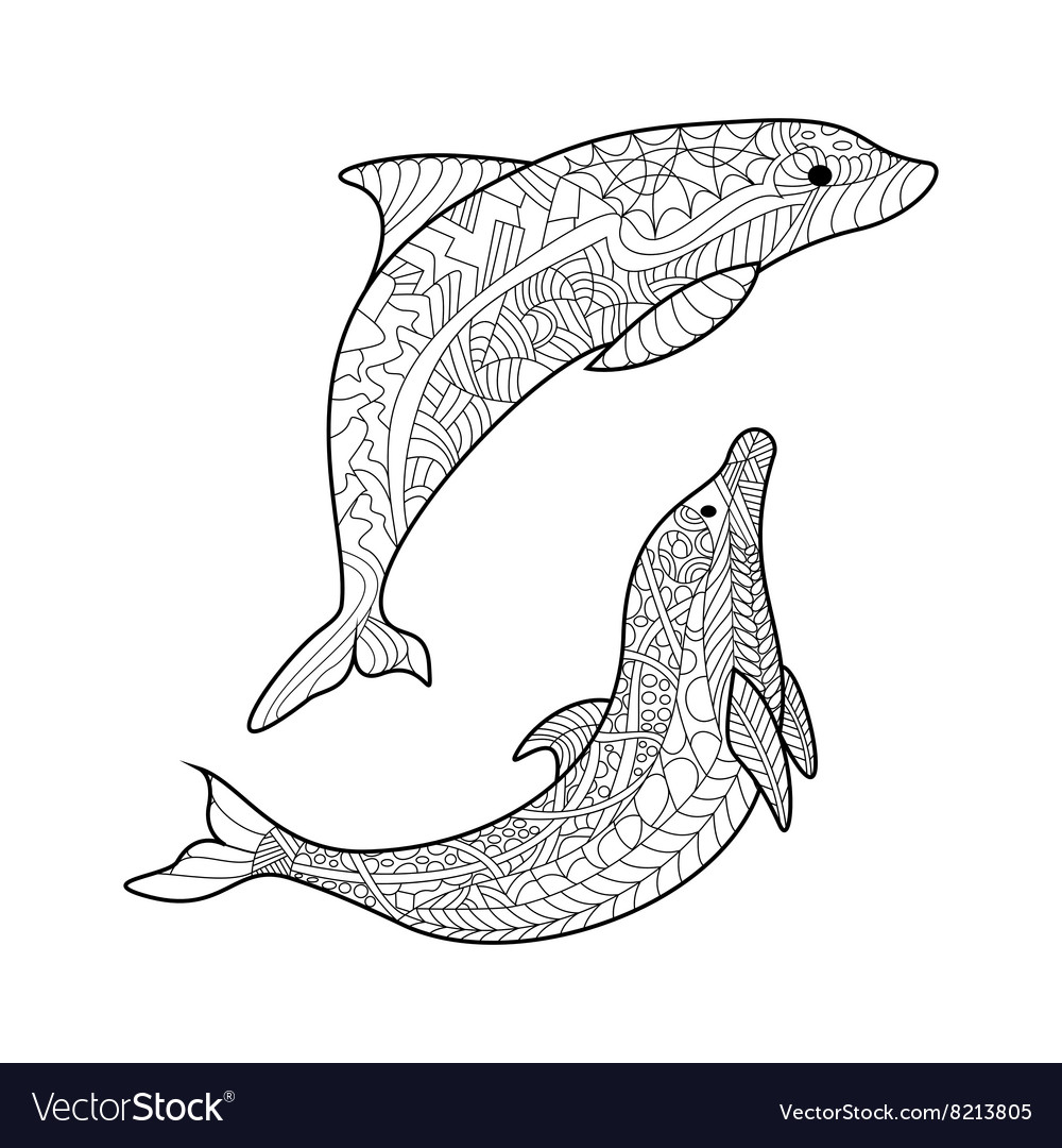Dolphin coloring book for adults Royalty Free Vector Image