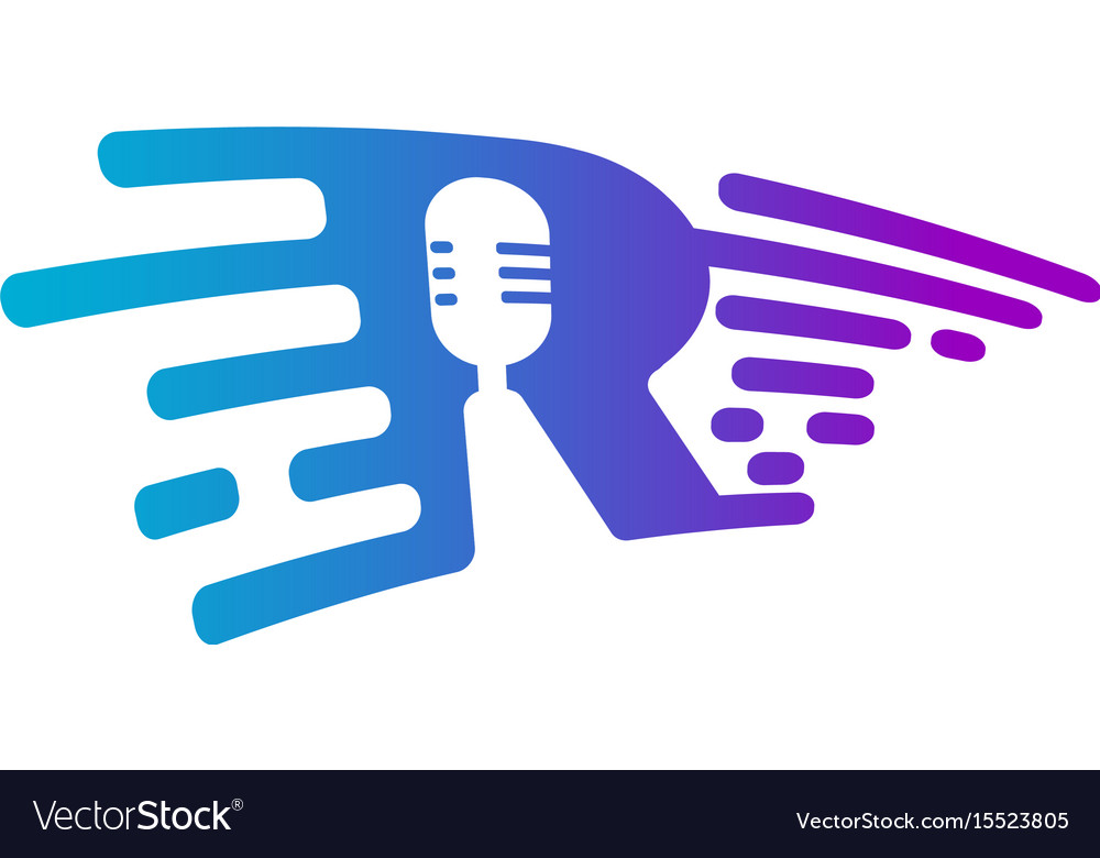 Microphone radio logo voice recorder interview vector image