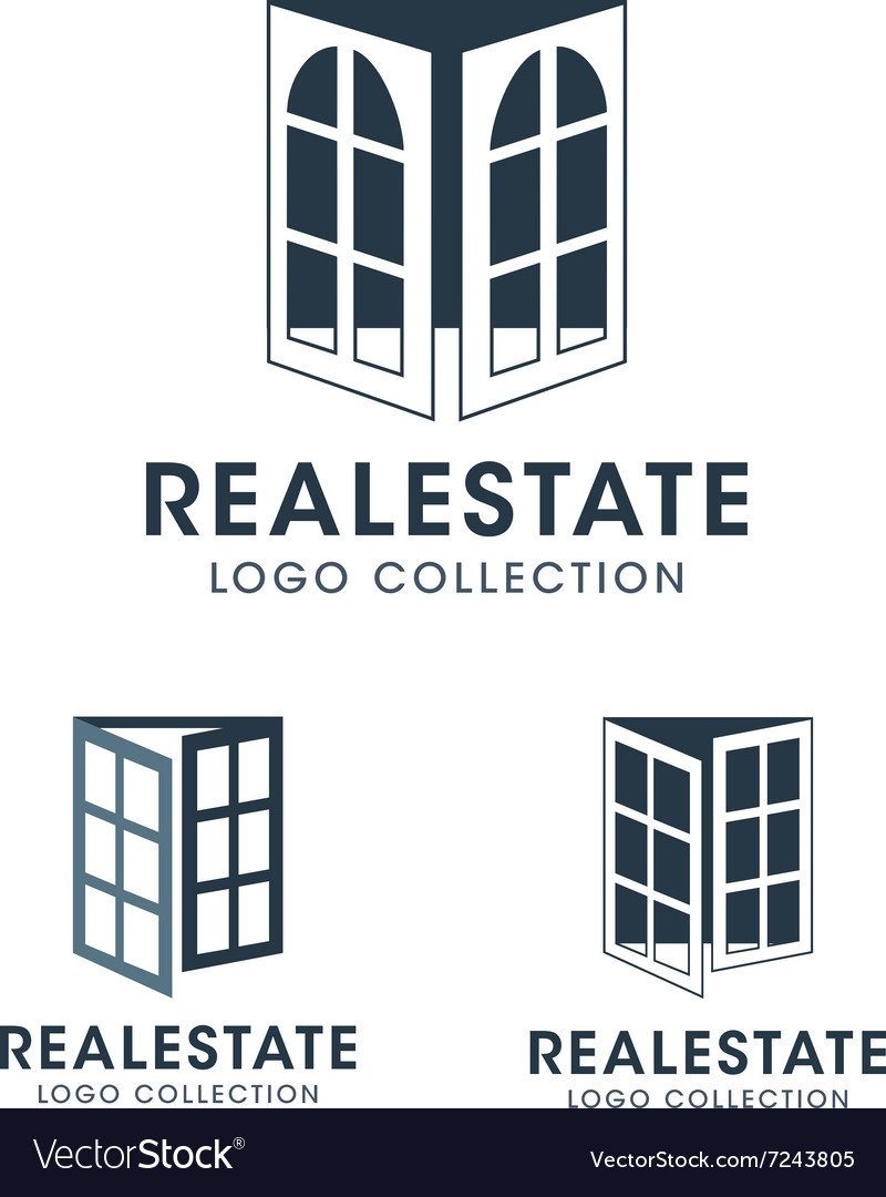 Silhouette Windows and French Door Logos and Icons vector image