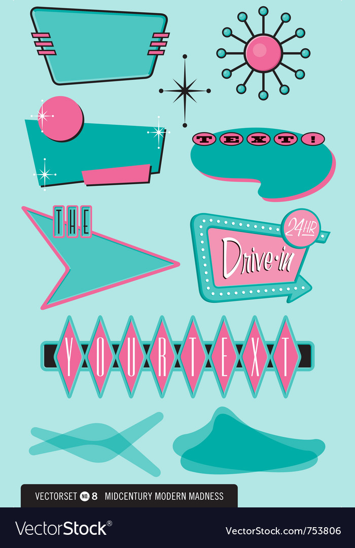 Midcentury modern retor design elements vector image