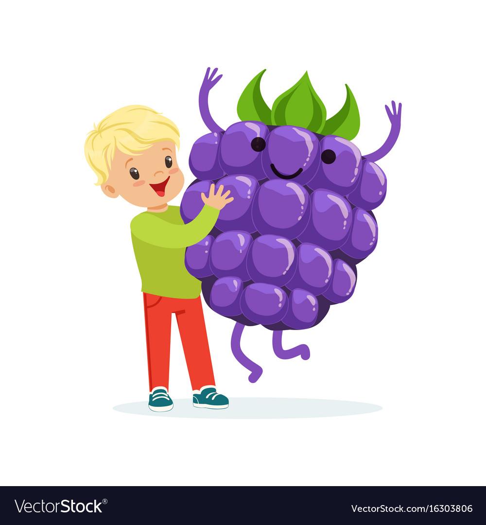 Happy boy having fun with fresh smiling blackberry vector image