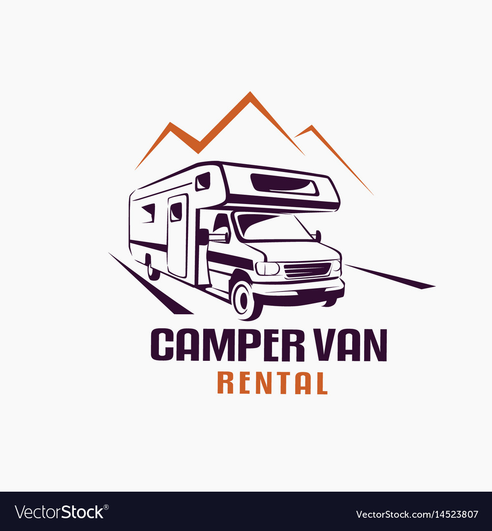Camper van outlined sketch emblem and label vector image