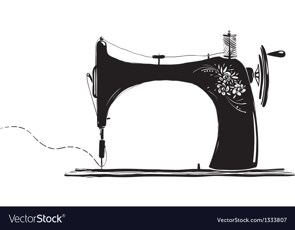 Vintage Sewing Machine Inky vector image