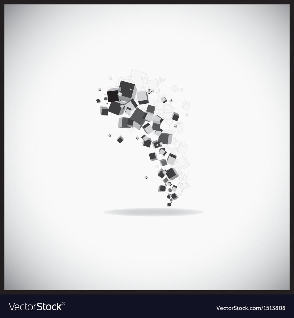 3d cubes connection vector image