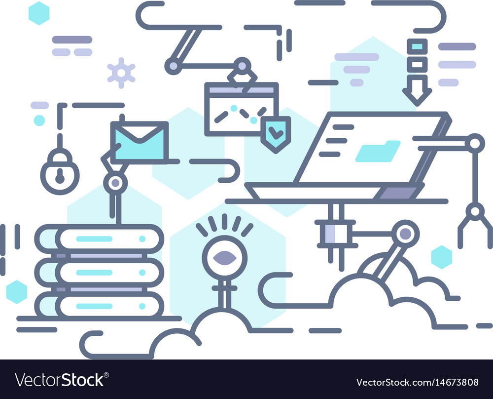 Cloud storage on internet vector image