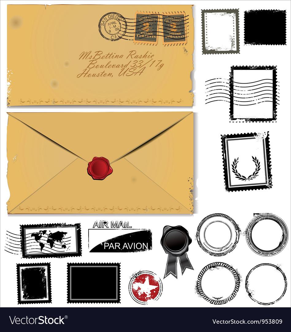 Old envelope and postage stamp set vector image