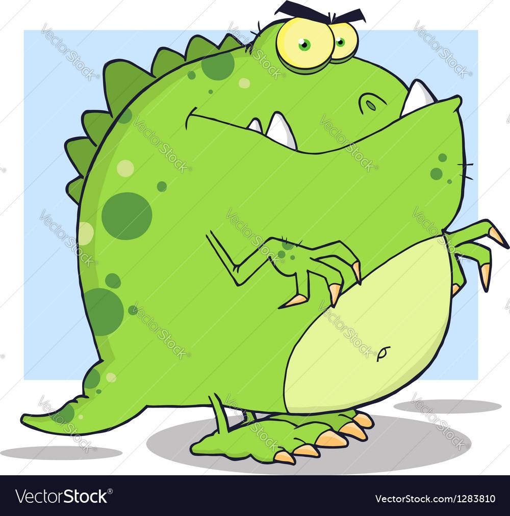 Green Dinosaur Cartoon Character vector image