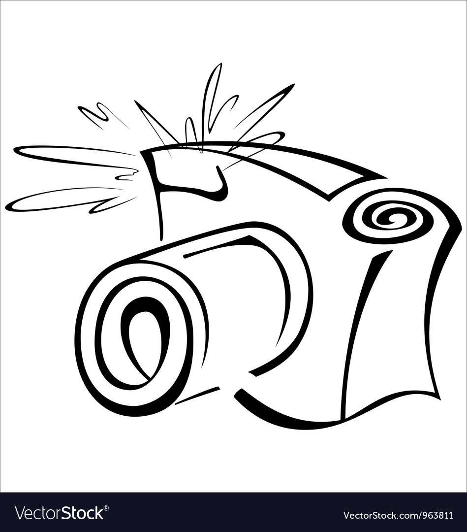 Black and white contour photo camera Vector Image