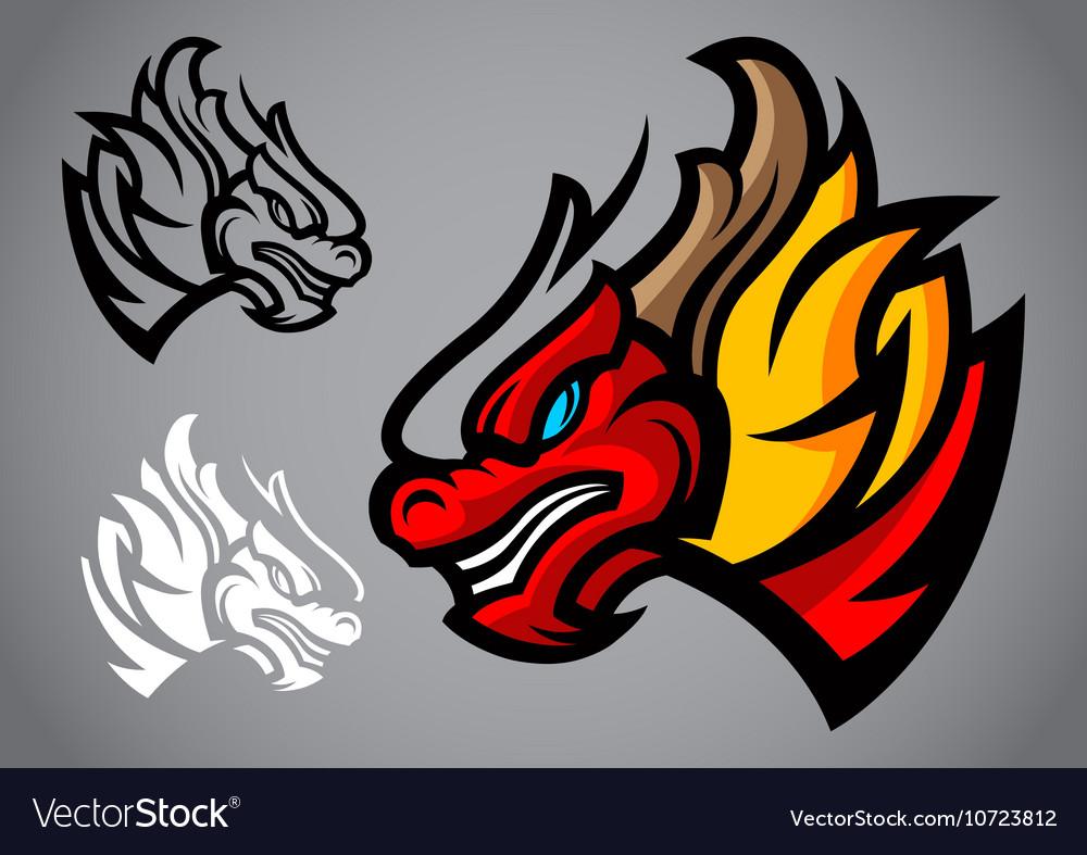 Dragon red head emblem logo vector image