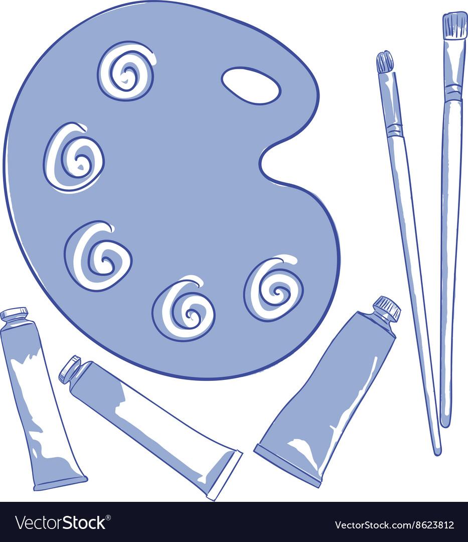 Paint brush palette vector image