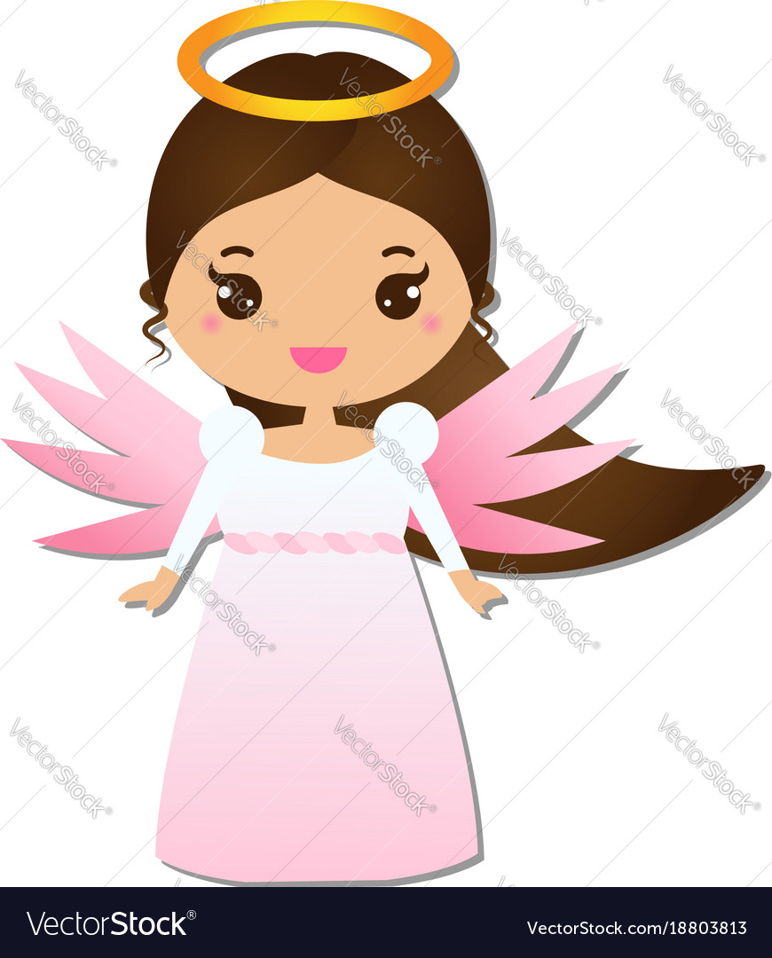 Cute angel kawaii style paper figure sticker Vector Image for Cute Animated Sticker  181plt
