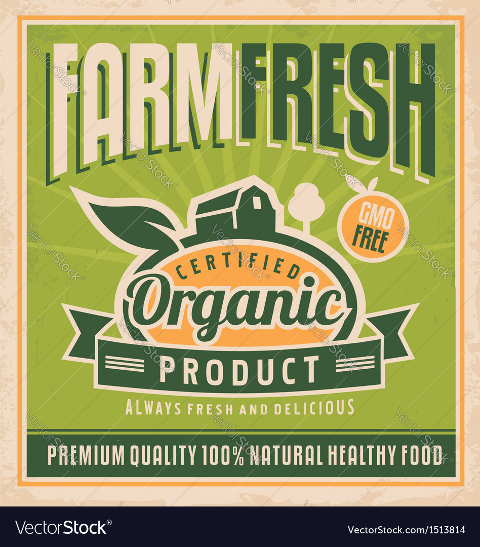 Retro farm fresh food concept vector image