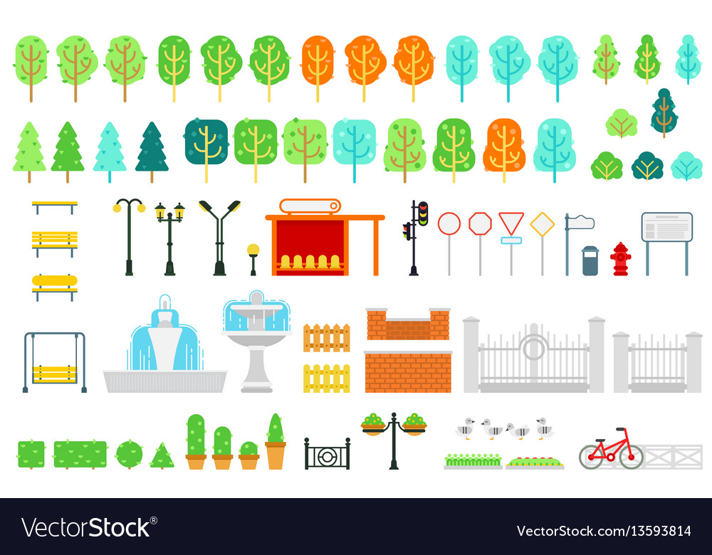 City and park map elements in flat design vector image