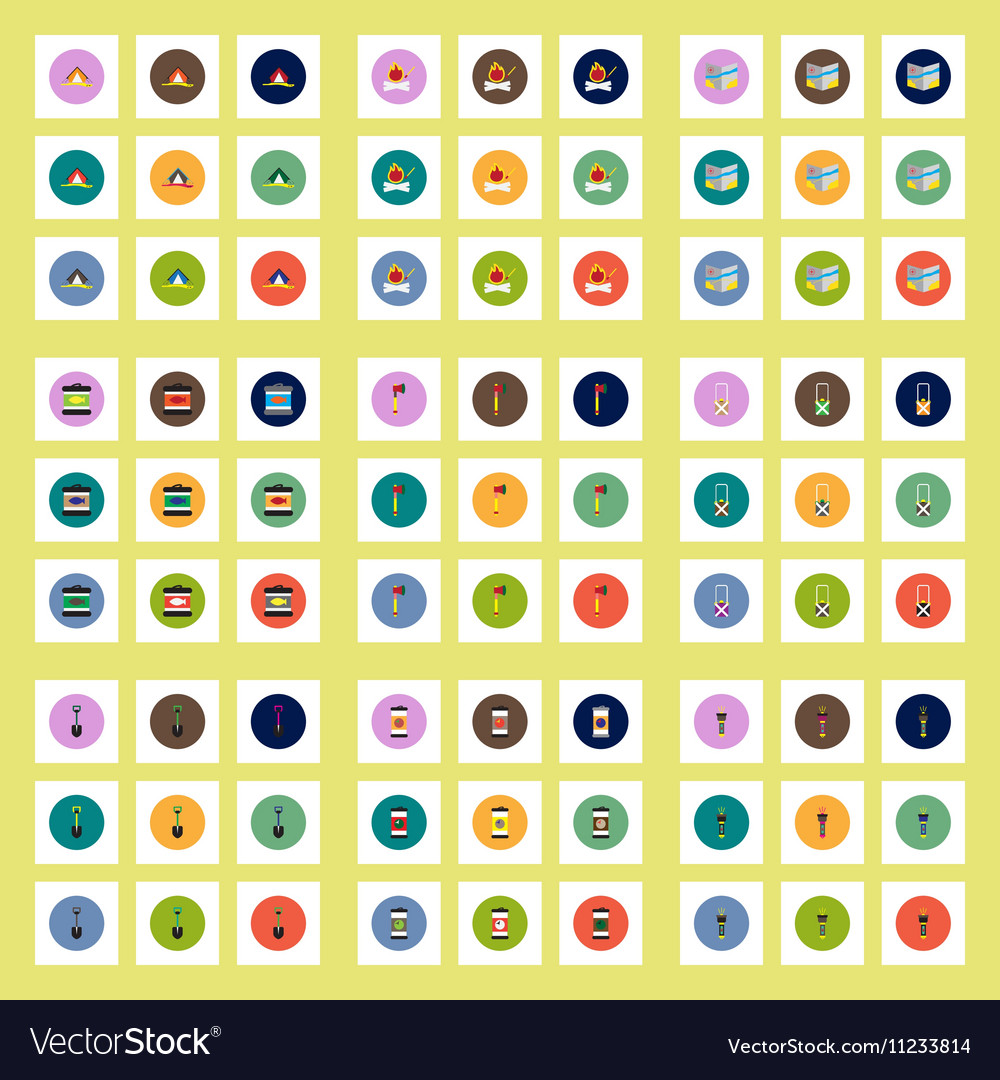 Collection of stylish icons in colorful