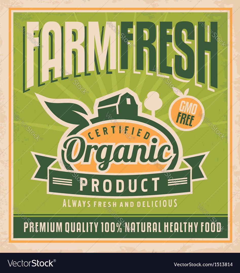 Retro farm fresh food concept vector image