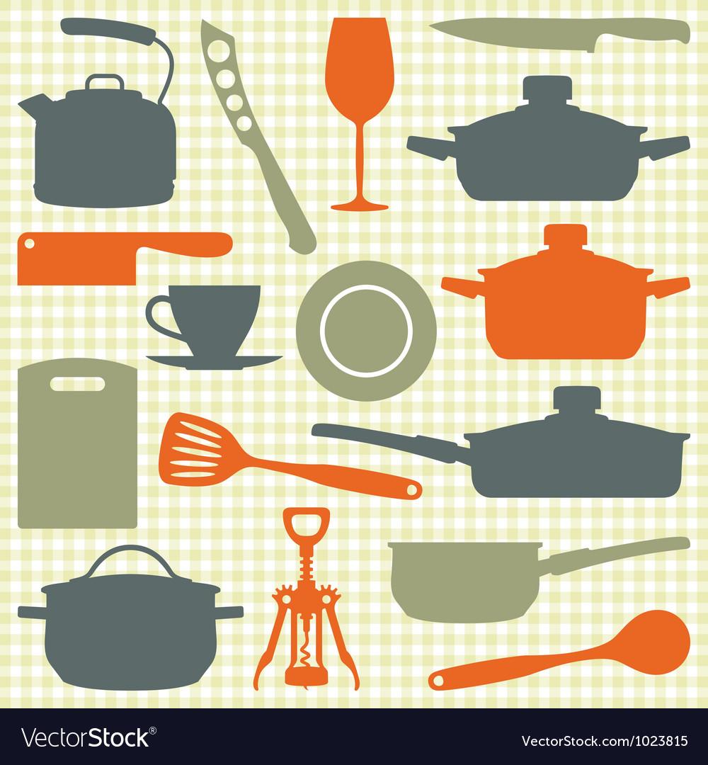 Kitchen utensils silhouettes vector image