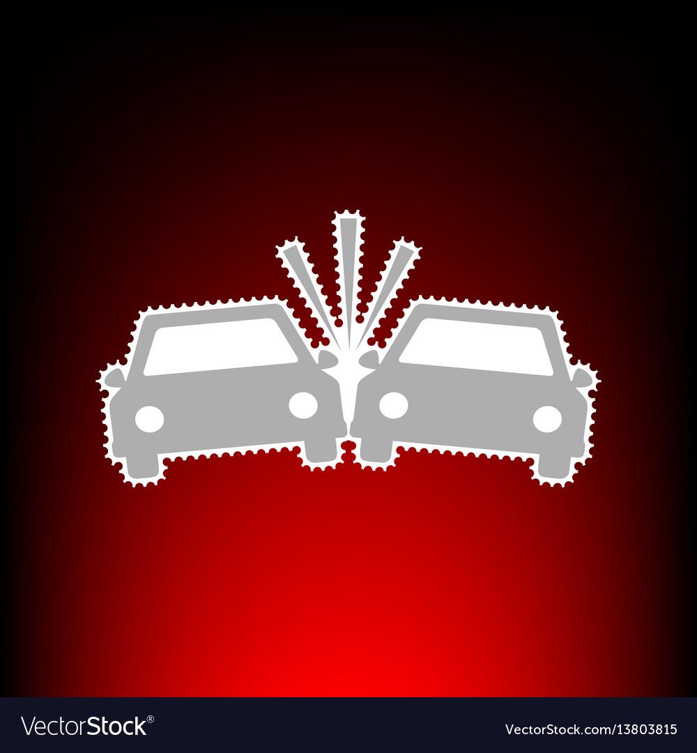 Crashed cars sign postage stamp or old photo vector image