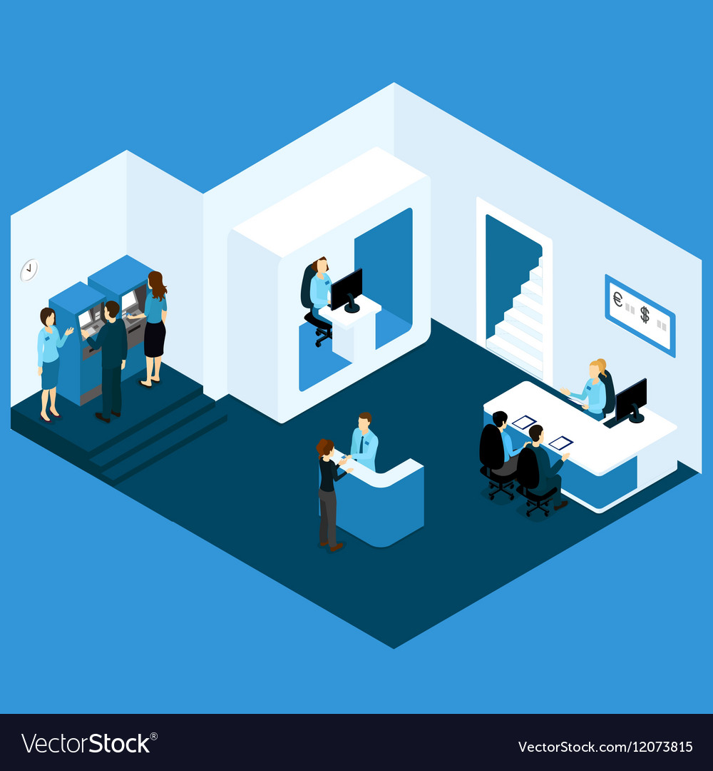 Isometric Credit Bank Composition vector image