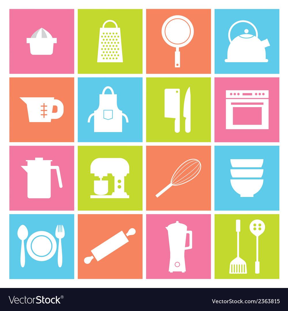 Utensils Icons set 16 vector image