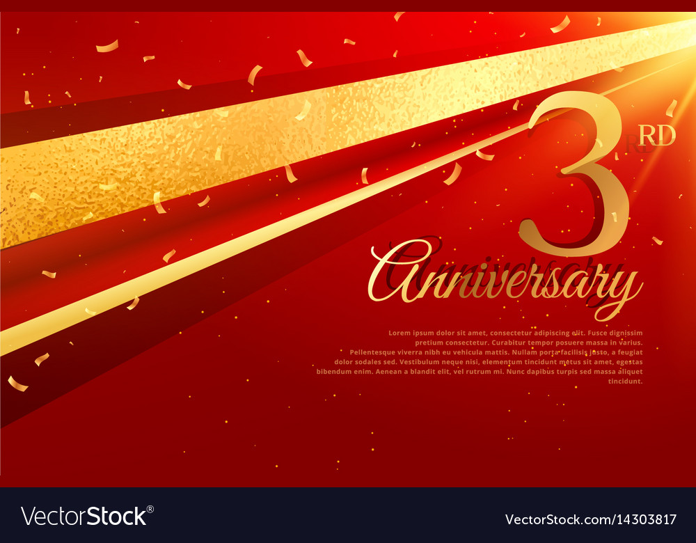 3rd anniversary celebration card template vector image