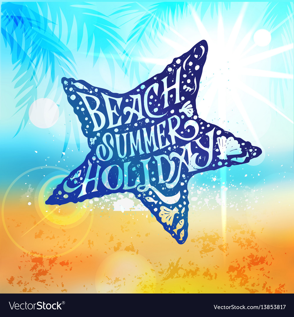 Let the sunshine in summer beach poster vector image