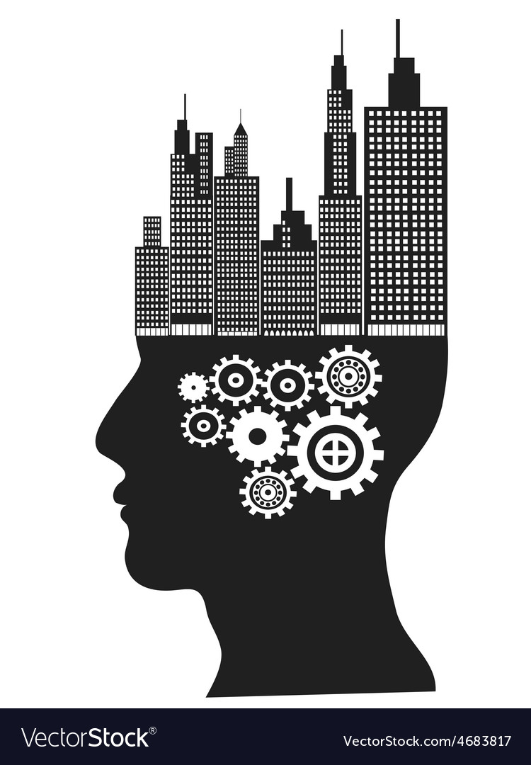 Skyscrapers stand on human head vector image
