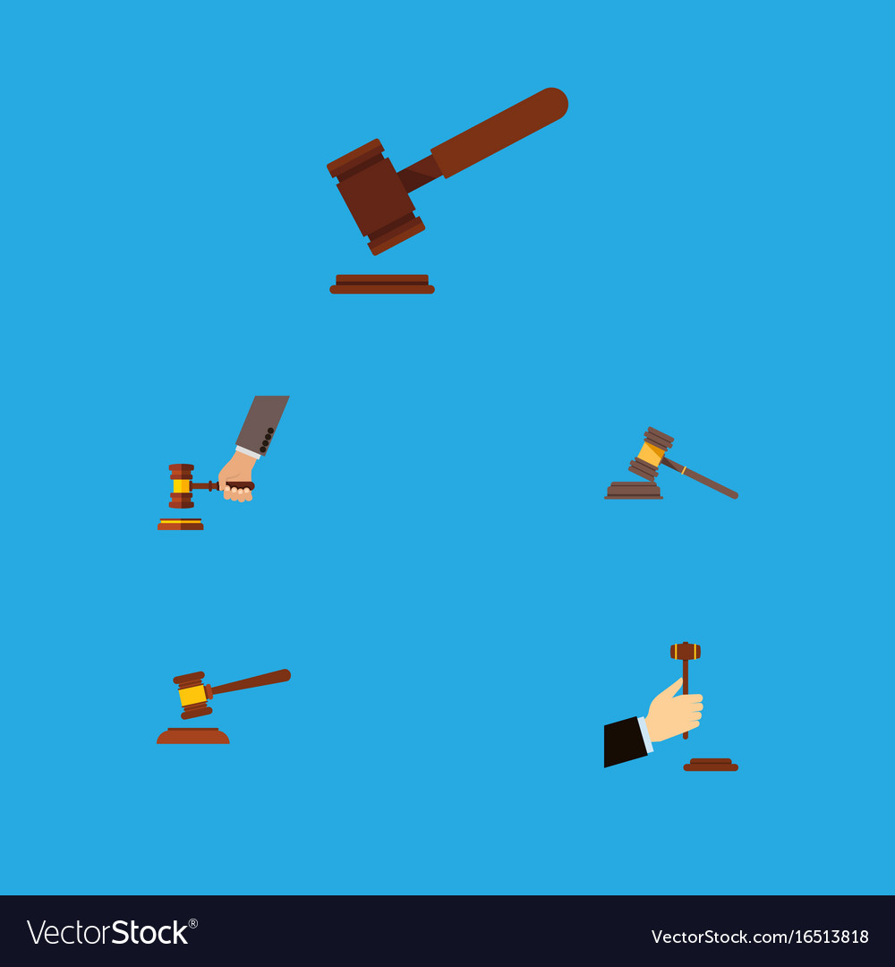 Flat icon hammer set of crime law court and vector image