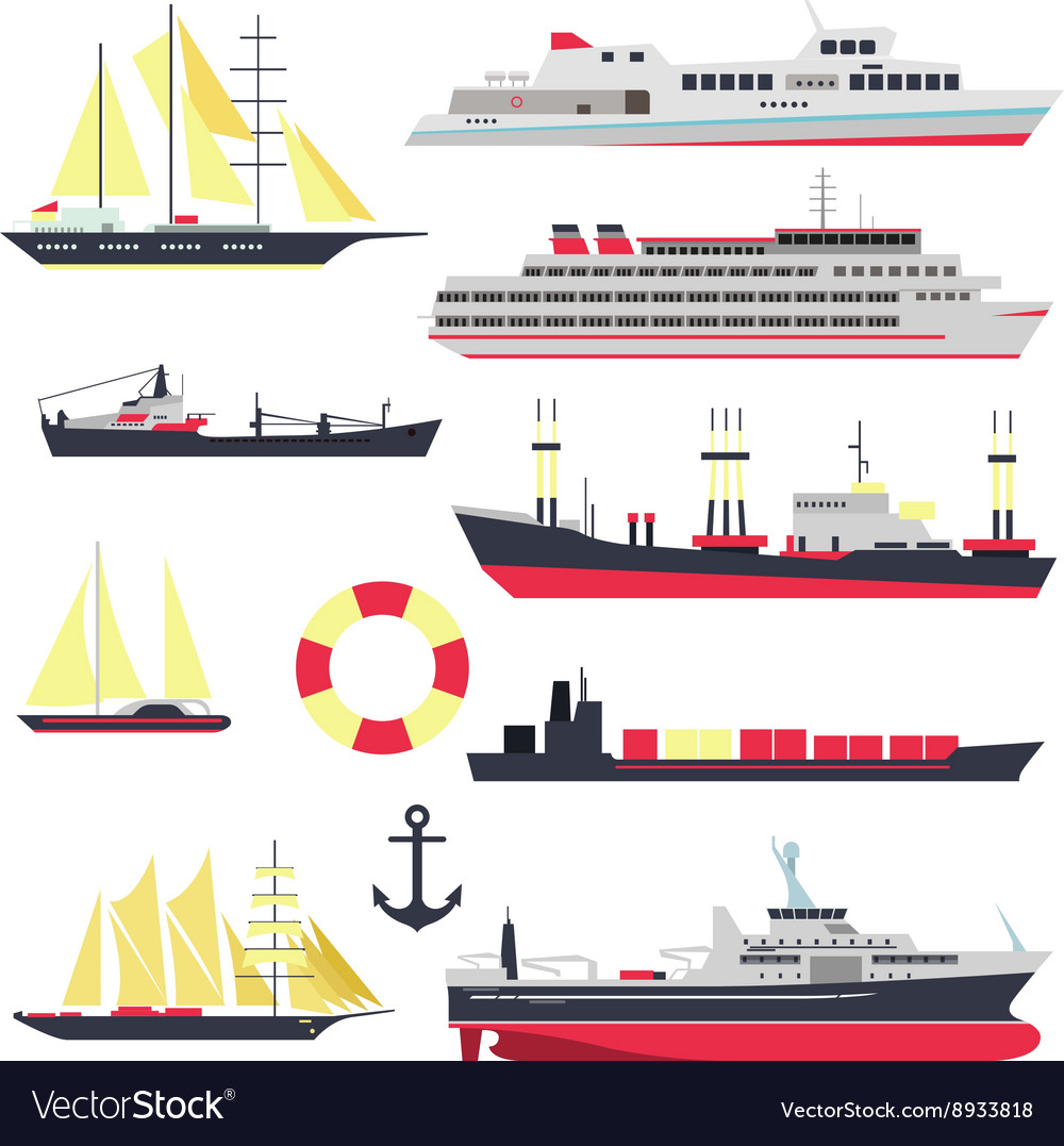 set of sea ships boats and yacht isolated vector 8933818 boat diagram port starboard www topsimages com