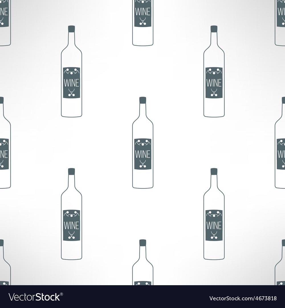 Wine bottles seamless pattern in modern vector image