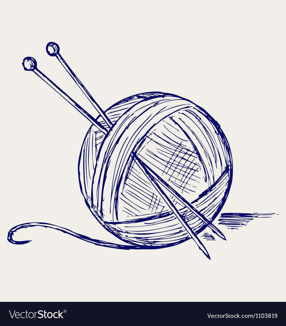 Yarn balls with needles vector image