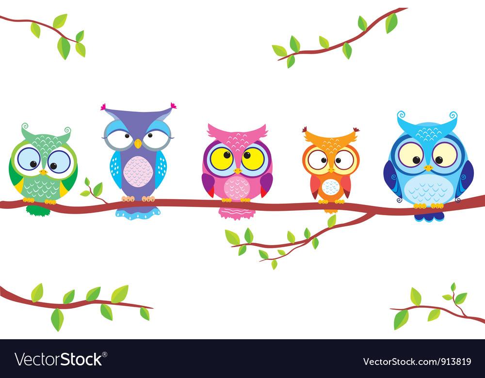 Owl five vector image