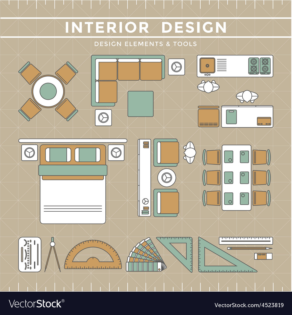 Interior design elements tools royalty free vector image - Online interior design tool ...