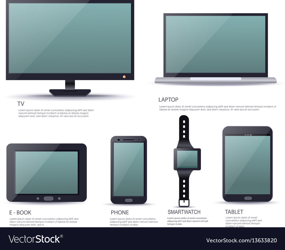 Modern electronic device set with blank screen vector image