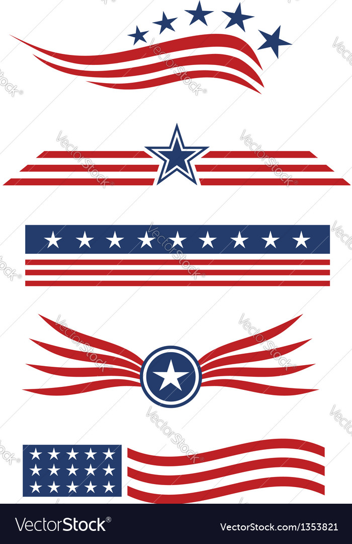 USA star flag logo design elements vector image