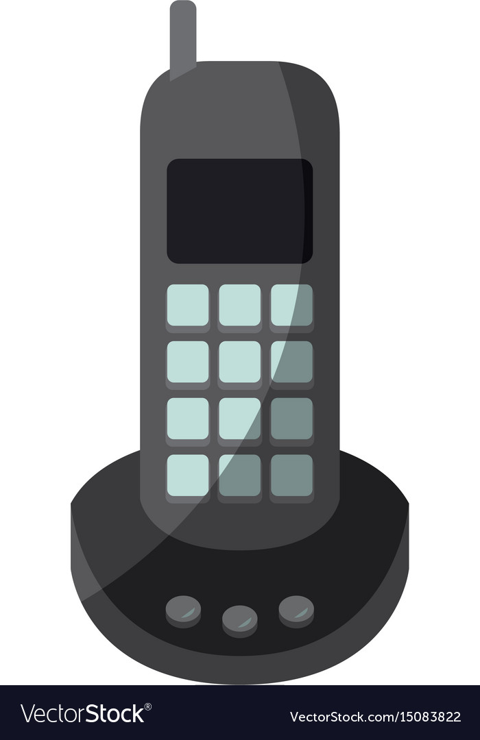 Colorful graphic of cordless phone without contour vector image