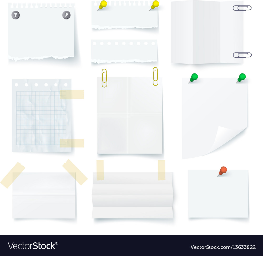 Pieces of torn white blank note paper set vector image