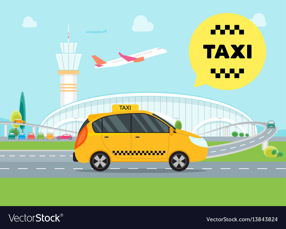 Cartoon airport taxi service car vector image