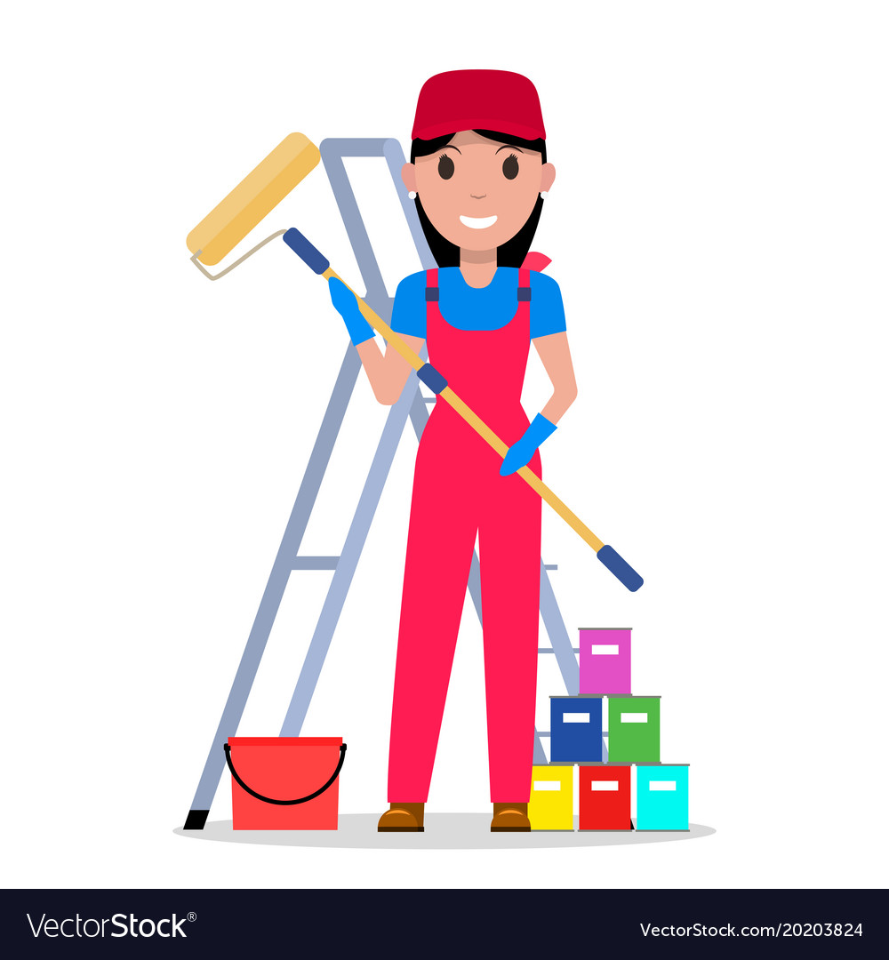Cartoon woman painter with tools painting vector image