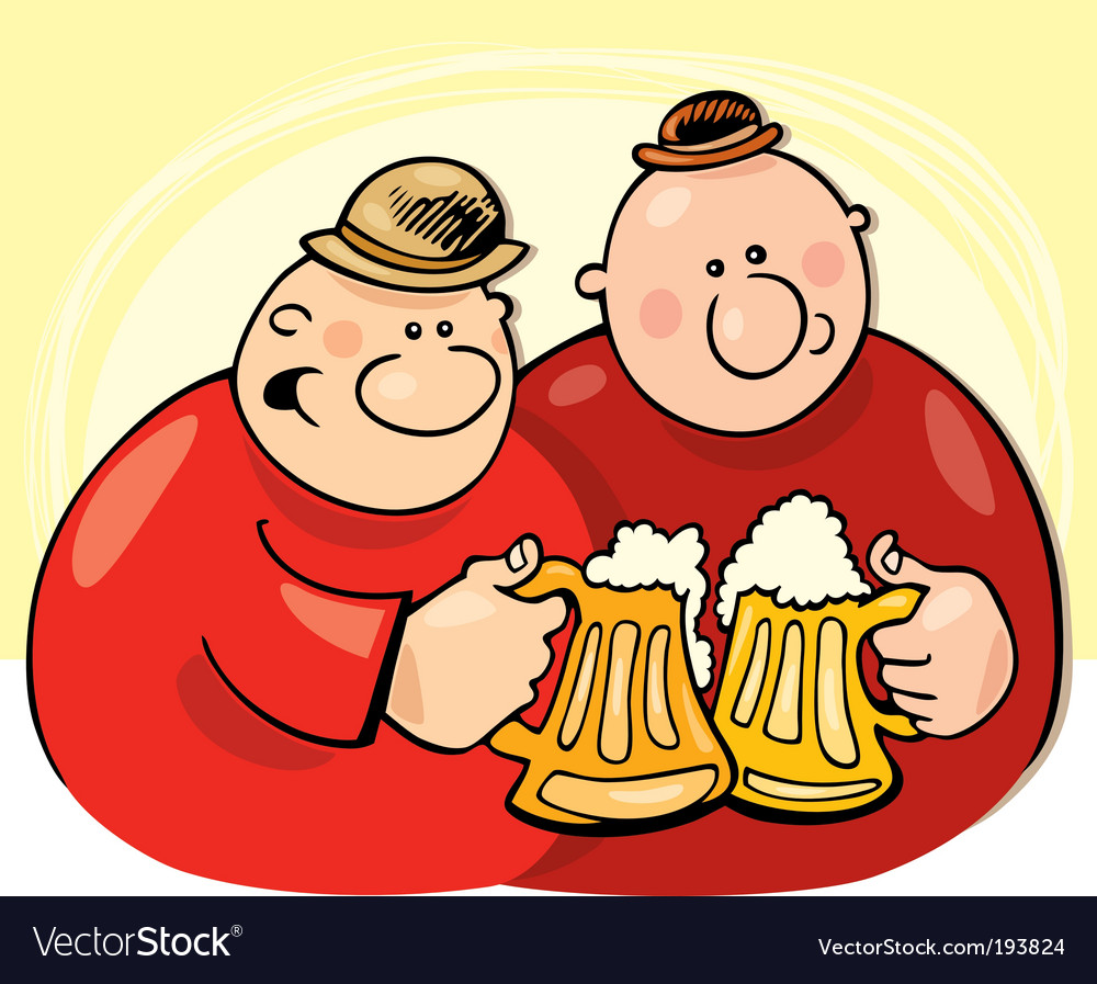 Two guys drink beer vector image