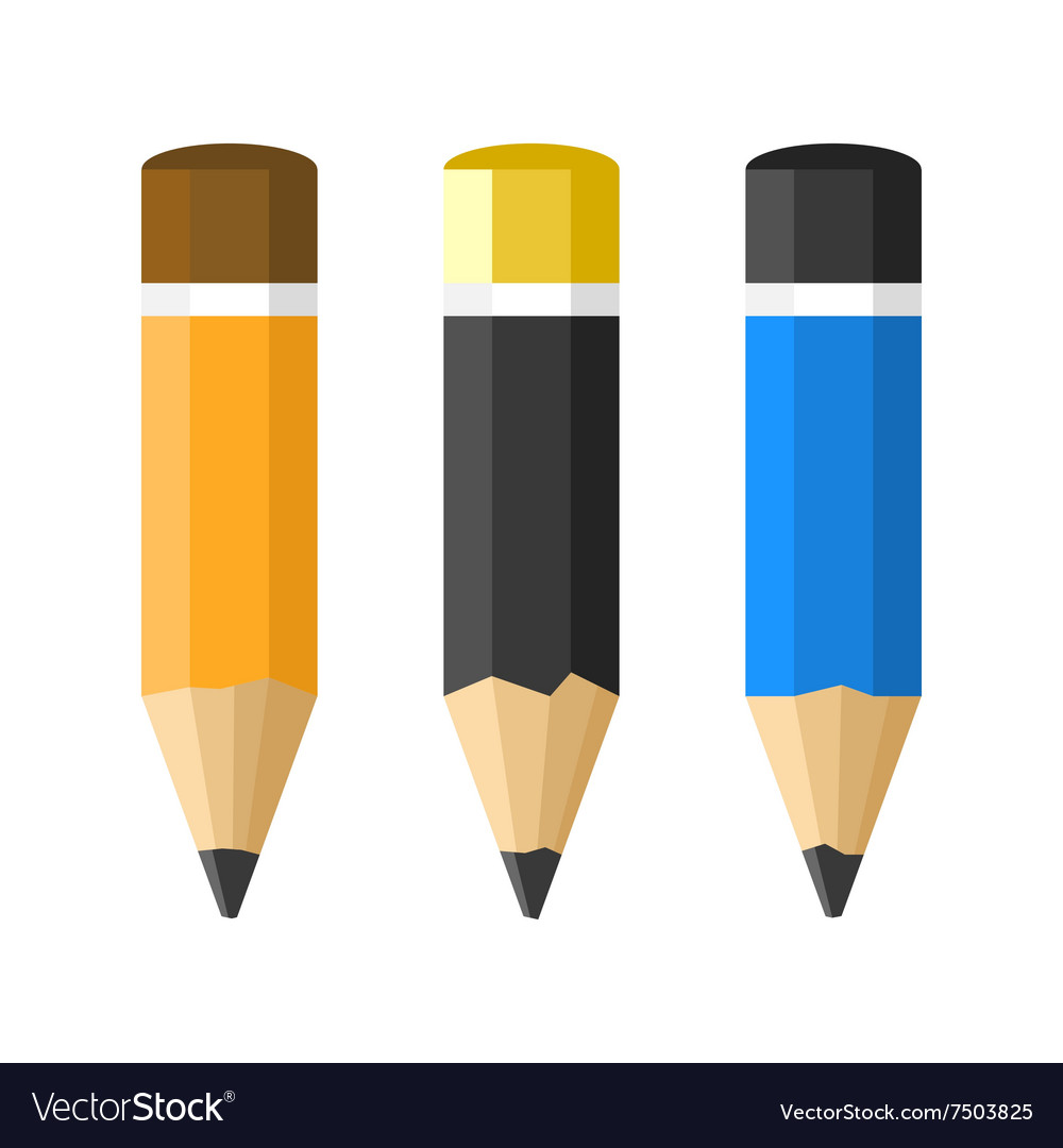 Flat Style Classic Pencils Set vector image