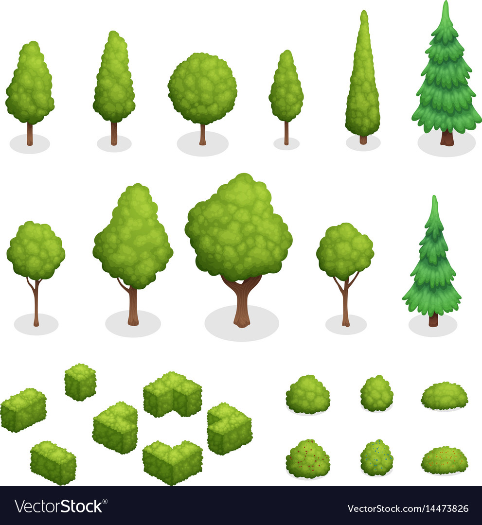 Park plants isometric set vector image
